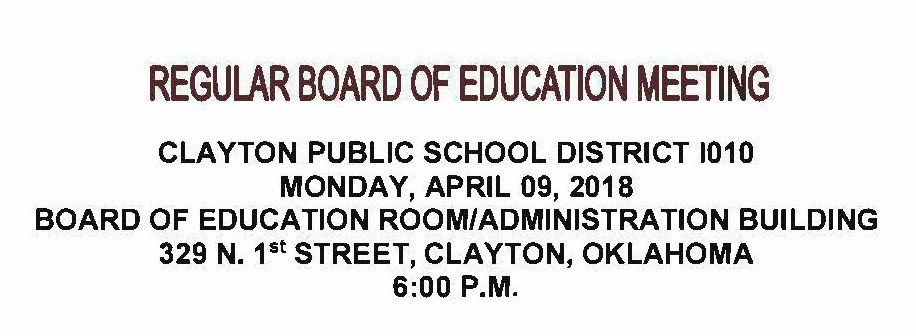 April 9th Board Meeting Agenda