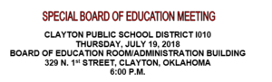 July Special Board Meeting Agenda