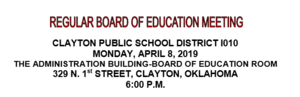 April Board Meeting Agenda