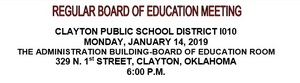January Board Meeting Agenda